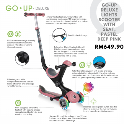 Globber Go-Up Deluxe Light with seat for toddler 9months+, Pastel Deep Pink