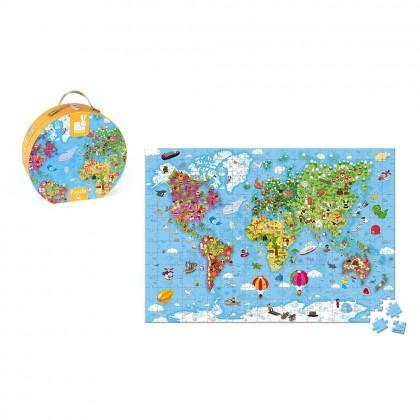 Janod Hat Box Giant Puzzle World Map, 300pcs